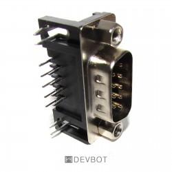 Connecteur RS-232 DB9 90° Mâle